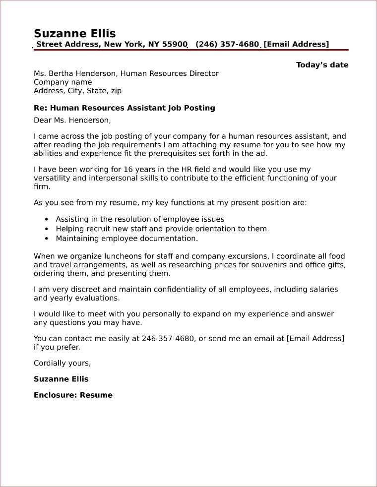 Sample Cover Letter For Human Resources Assistant Sample Cover Letter