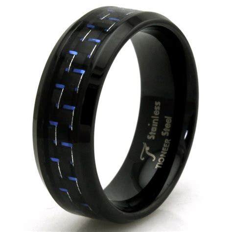 Stainless Steel Blue Carbon Fiber Personalized Black Mens