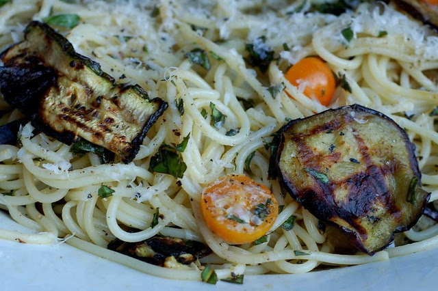Pasta autunnale with roasted eggplant and zucchini, tomatoes and basil by Eve Fox, Garden of Eating blog