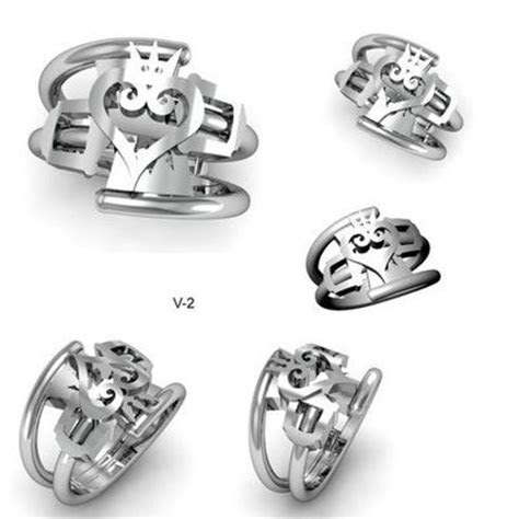 CAD designs of a Kingdom Hearts inspired wedding ring