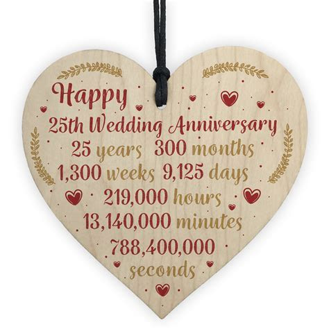 Happy 25th Wedding Anniversary Card Gift Heart Twenty Five
