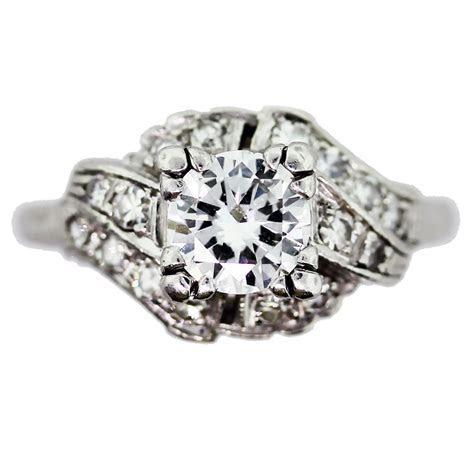 Vintage Diamond Engagement Ring in Antique Platinum
