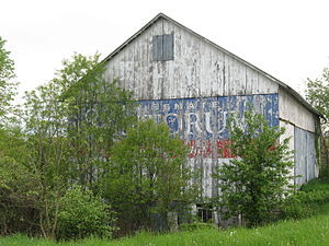 English: Barn painted with Pennsylvania politi...