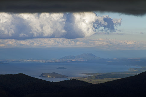 View of Lake Rotoaira & Lake Taupo from Ketetahi Hut, Tongariro National Park, New Zealand