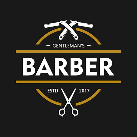 barbershop logo design template vector premium