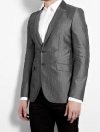Ps Paul Smith Grey Fine Stripe Cotton Silk Fitted Blazer