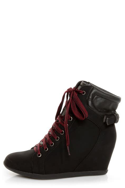 Bamboo Mariela 03 Black Lace Up Wedge Sneakers   $48.00