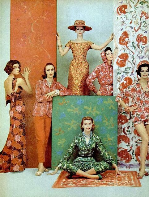 Floral print fashions, photo by Francesco Scavullo, 1957