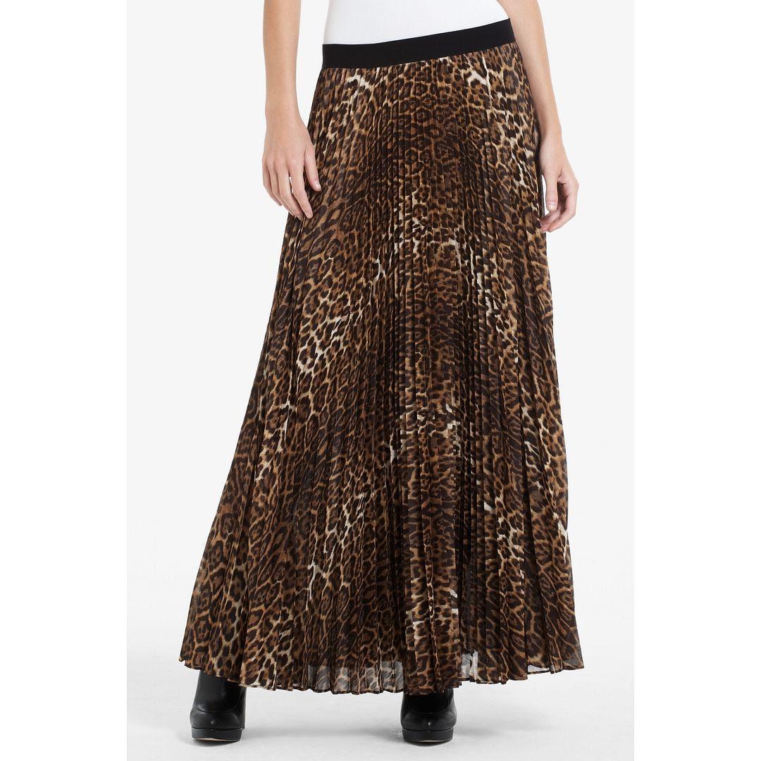 BCBGMAXAZRIA Estel Sunburst Pleated Leopard Skirt