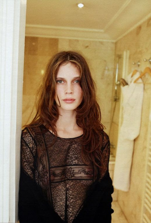 LE FASHION BLOG MODEL ACTRESS MARINE VACTH INTERVIEW GERMANY Photographer Juergen Teller Styling Julia von Boehm SHEER EMBROIDERED BLACK LACE LONG SLEEVE TOP EFFORTLESS FRENCH STYLE INSPIRATION WAVY HAIR NATURAL BEAUTY JEUNE ET JOLIE YOUNG AND BEAUTIFUL FILM MOVIE 6 photo LEFASHIONBLOGMARINEVACTHINTERVIEWGERMANY6.jpg