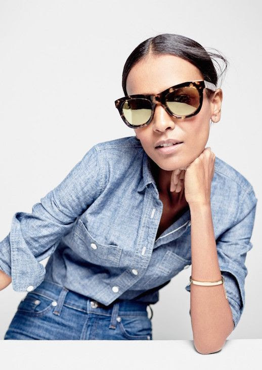 Le Fashion Blog JCrew Oversized Tortoise Sunglasses Lookbook Liya Kebede Chambray Button Down Shirt Light Wash High Waisted Jeans