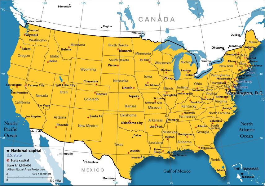 Maps Usa Map States And Capitals - Usa map with states and capitals