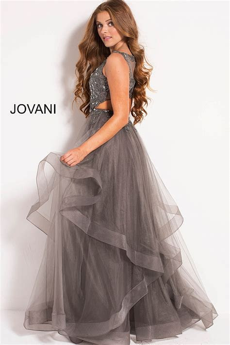 Charcoal long layered tulle skirt embellished bodice prom