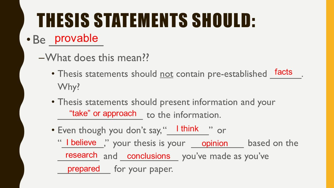 A Good Thesis Statement Should
