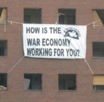 VFP war economy banner drop at USSF Detoit