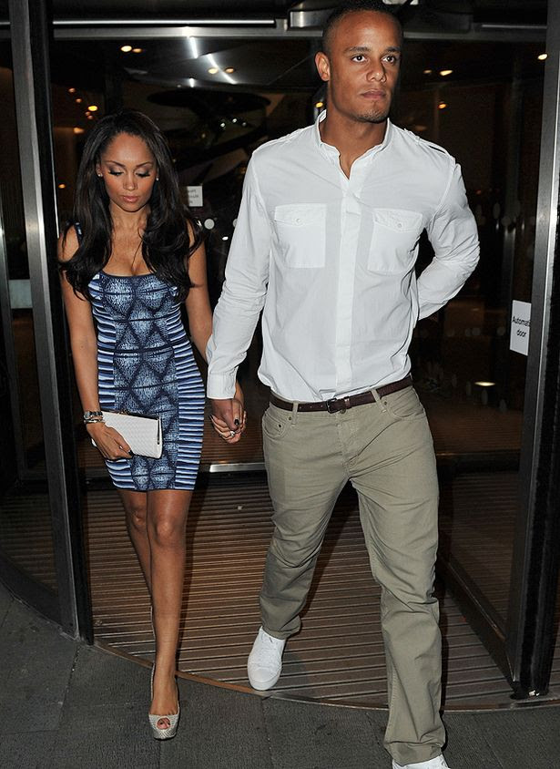Vincent+Kompany+and+wife+head+out+of+their+hotel+to+go+to+the+Manchester+City+victory+party+at+The+Manchester+Town+Hall