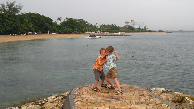 Z and X clowning by the beach, Sanur, Bali