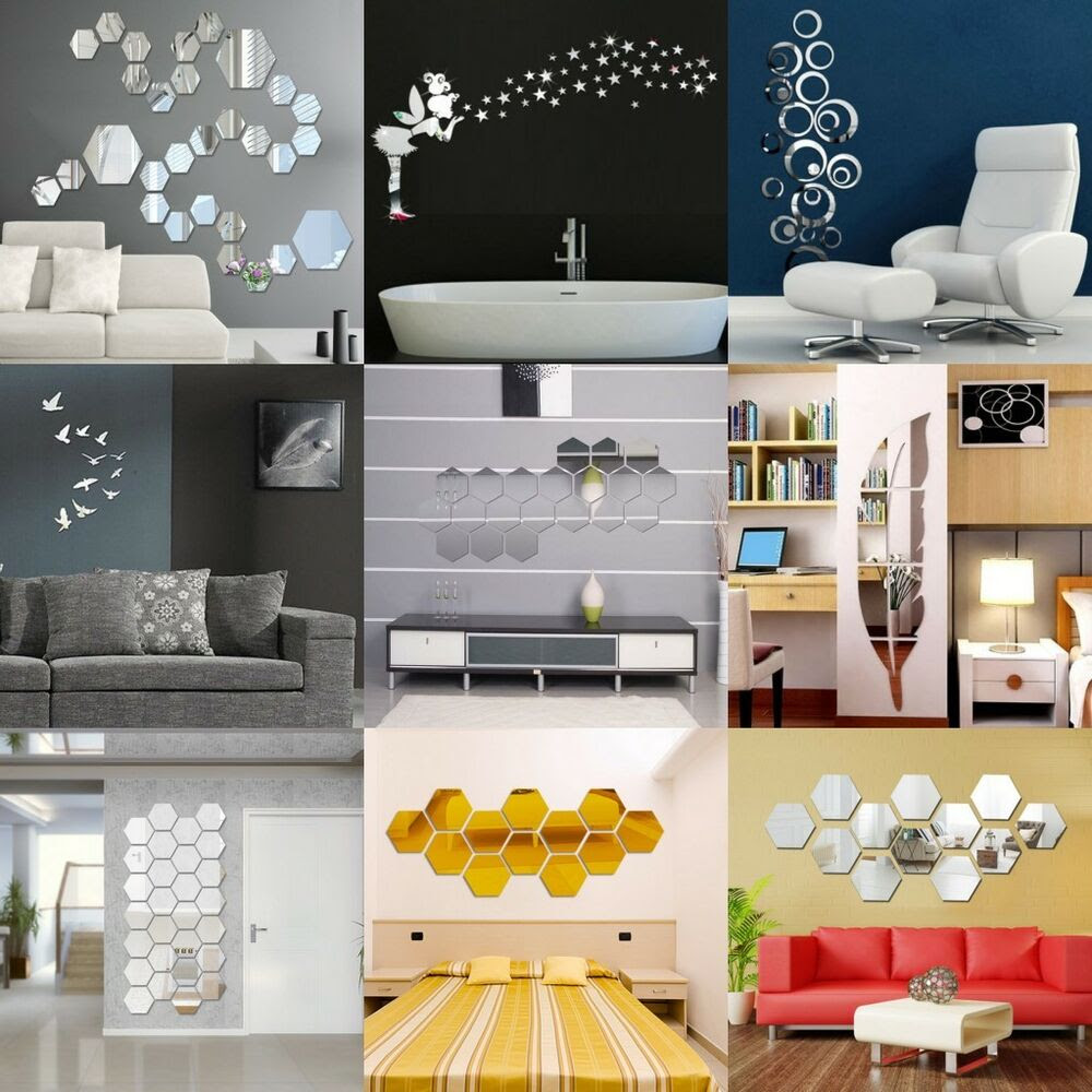 Removable Mirror Decal Art Mural Wall Stickers Home Decor DIY Room Decoration 3D  eBay