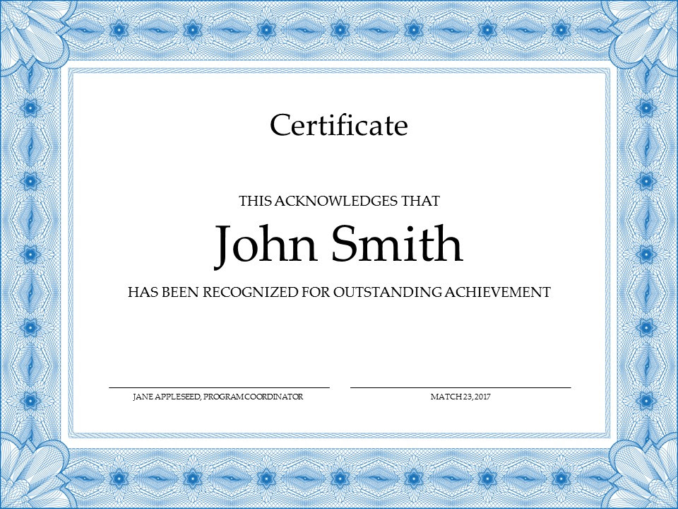 Certificate Templates 8 Powerpoint Certificate Templates Sample