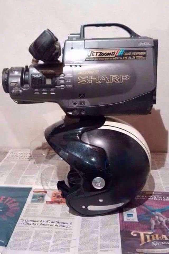 Sharp camera in a helmet