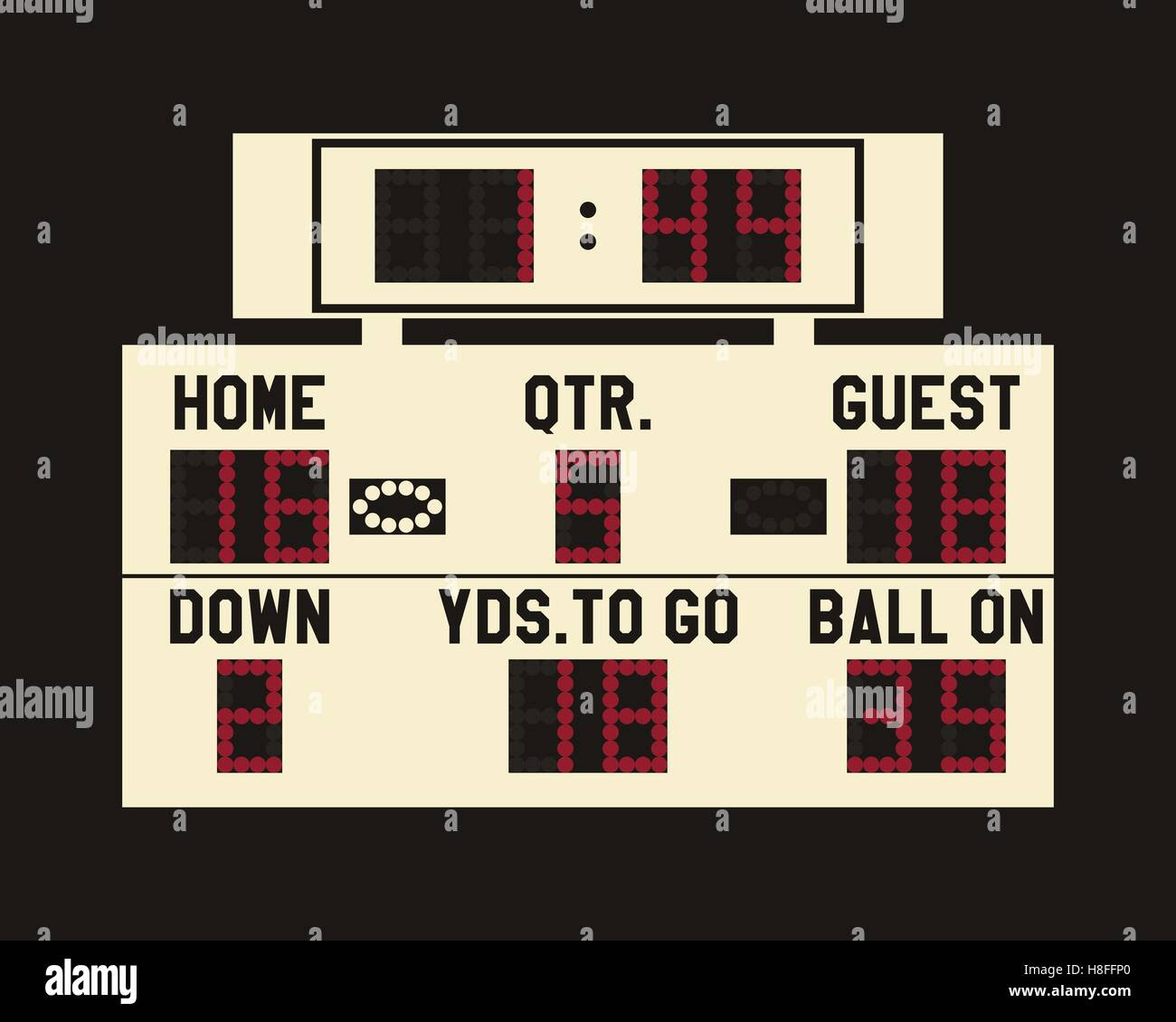 Led American Football Scoreboard With Fully Editable Data, Timer ...