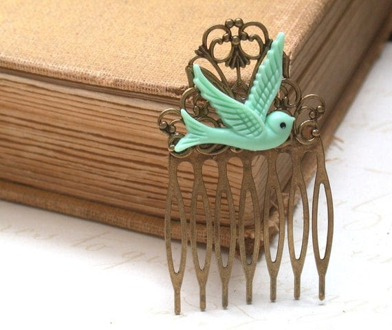 Hair Comb -  Mint Green Maroon Bird in Flight Hair Comb  Antique Victorian Style