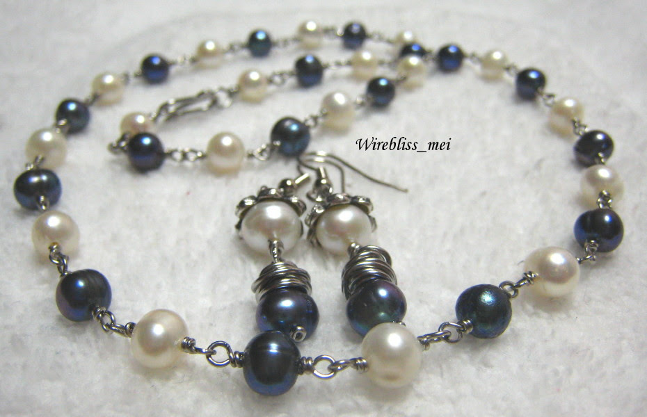 Wire wrapped Pearl Necklace Set