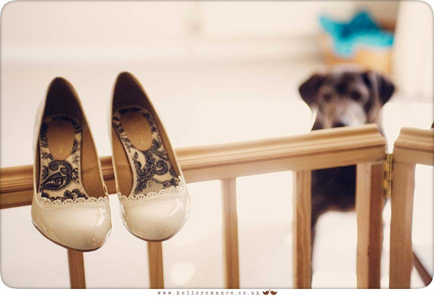 Bride's shoes with dog - Hello Romance Wedding Photography Suffolk