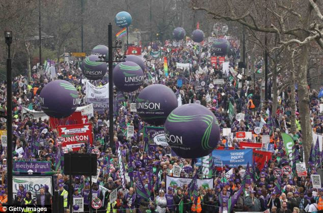 Mass movement: The Trades Union Congress organised the march to Hyde Park, before holding a rally