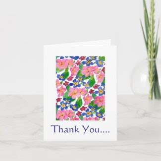Primroses 'Thank You' Notecard card