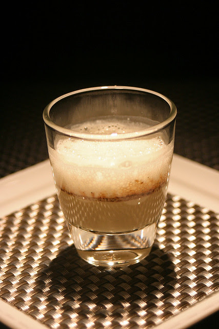 The amuse bouche of foie gras custard with red Porto wine and parmesan foam