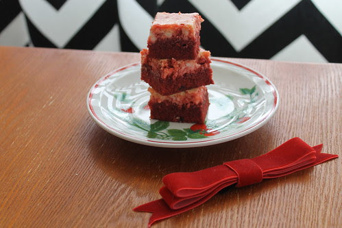 Red velvet brownies with a cream cheese swirl