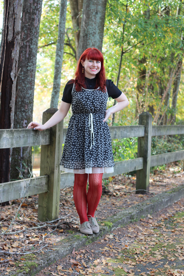 Cat print dress, orange patterned tights