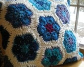 African Flower Pillow Cover - Blue Multi - crochetforeveryone