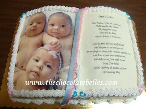 Triplets Bible Christening Cake
