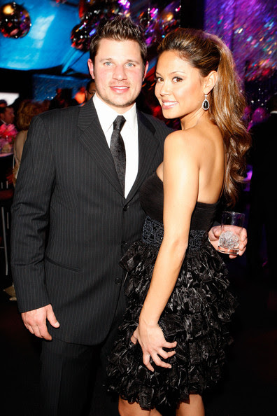 TV personality Nick Lachey (L) and Vanessa Minnillo attend NBC Universal and Focus Features' Golden Globes after party sponsored by Cartier at Beverly Hilton Hotel on January 17, 2010 in Beverly Hills, California.