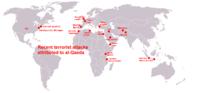 World map about terrorist attacks of al-Qaeda.