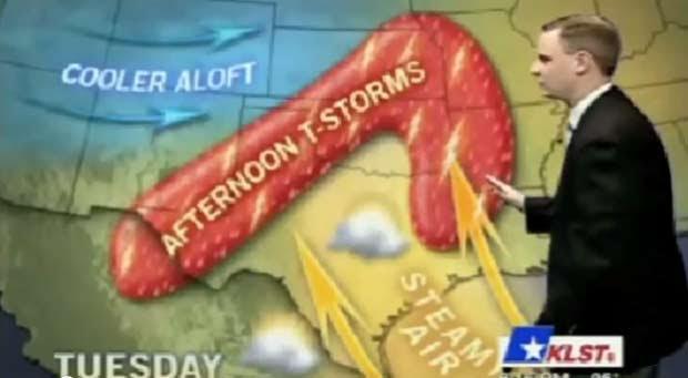 Em outubro de 2010, a emissora de TV 'KLST', de San Angelo, no estado do Texas (EUA), cometeu uma gafe ao mostrar o mapa da previsão do tempo em formato de um pênis gigante durante um programa apresentado pelo meteorologista Nick Kraynok. (Foto: Reprodução)