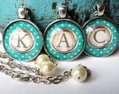 Custom Monogram Letter Glass Type Writer Necklace- you pick the Letter