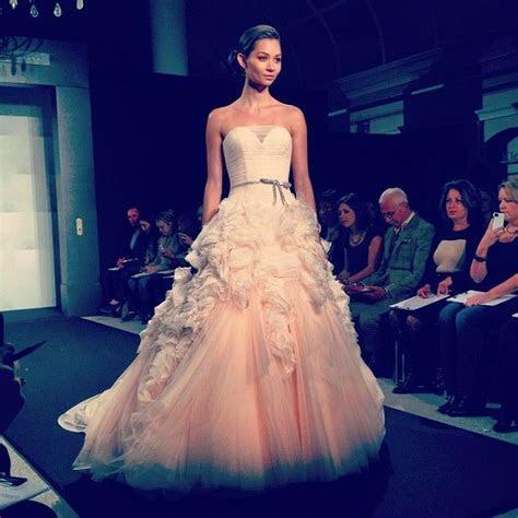 Pink wedding dress on the Mark Zunino runway at Kleinfeld