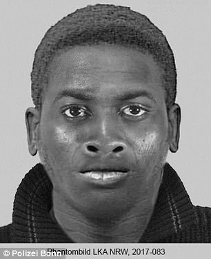 As of Monday afternoon, a man (a facial composite of the attacker pictured above) accused of raping a young woman in Siegaue Nature Reserve had not been found by police