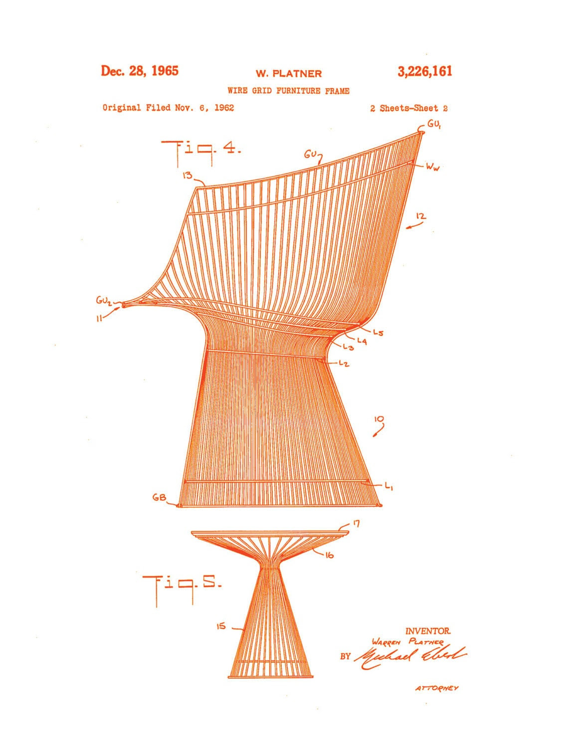 Warren Platner Chair and Table - Orange