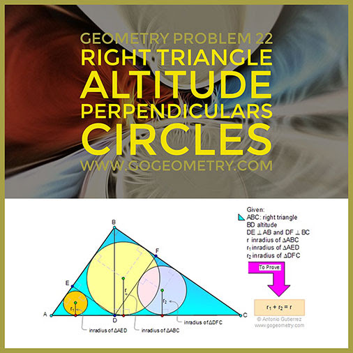 Geometry Problem 22: Right triangle, Altitude, Perpendiculars, Circles, Inradii, Typography, iPad Apps.
