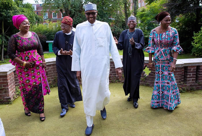 Image result for buhari receives lai mohammed and other in abuja house london don