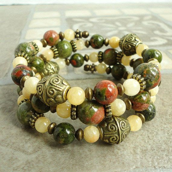 Unakite and Aragonite BRACELET Memory Wire by mamisgemstudio, $29.95