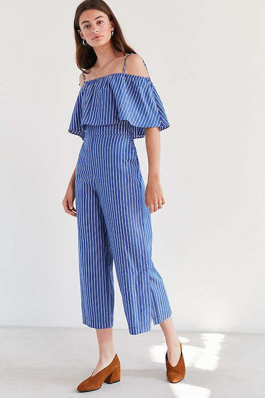 Le Fashion Blog Under $200 Side Party Hera Ruffle Pinstripe Jumpsuit Via Urban Outfitters