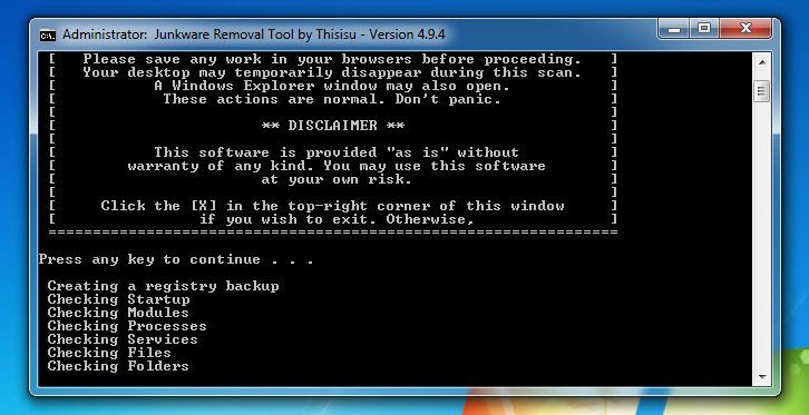 [Image: Junkware Removal Tool scanning for Unable to connect to the proxy server virus]