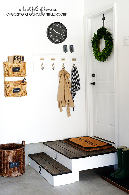 The corner of this garage was transformed into a beautiful and stylish mudroom.   Created by A Bowl Full of Lemons | Friday Favorites at www.andersonandgrant.com