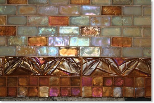 Glass tile installed in the Craftsman kitchen.