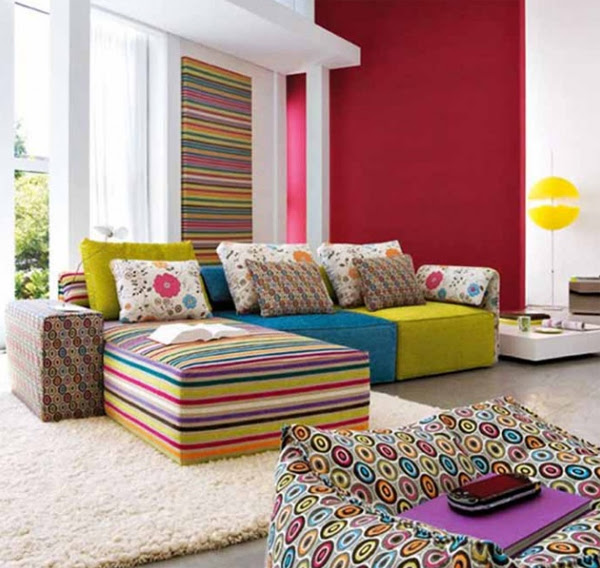 modern living room design with colorfull ideas